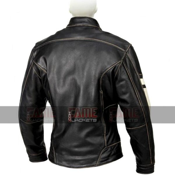 Mens Black Slim Fit Distressed Leather Jacket