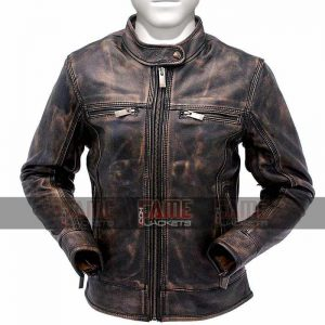 Mens Cafe Racer Distressed Brown Genuine Leather Biker Jacket
