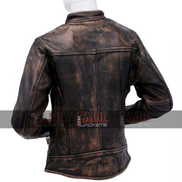Mens Cafe Racer Distressed Brown Leather Biker Jacker