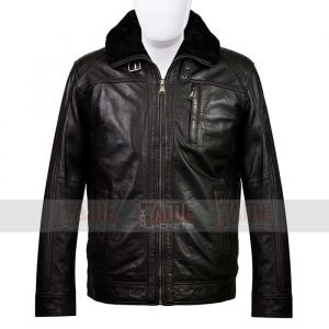 Mens Black Detachable Fur Collar Winter Jacket