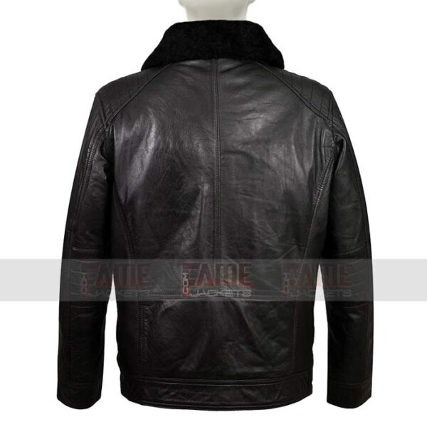 Mens Casual Black Detachable Fur Collar Winter Jackets