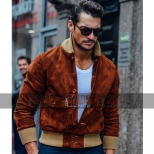 Mens Brown Suede Leather Bomber Jacket