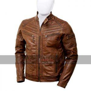 Mens Brown Genuine Leather Motorcycle Jacket