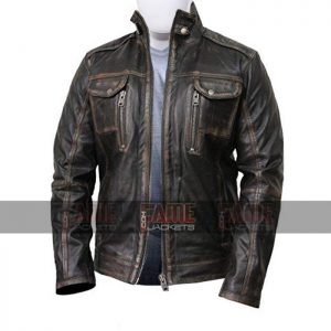 Mens Vintage Cafe Racer Brown Distressed Leather Biker jacket