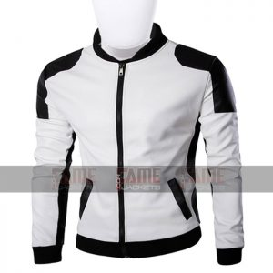 Unisex White And Black Leather Slim Fit Jacket