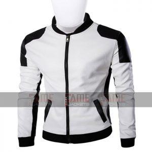Unisex White And Black Leather Slim Fit Jacket