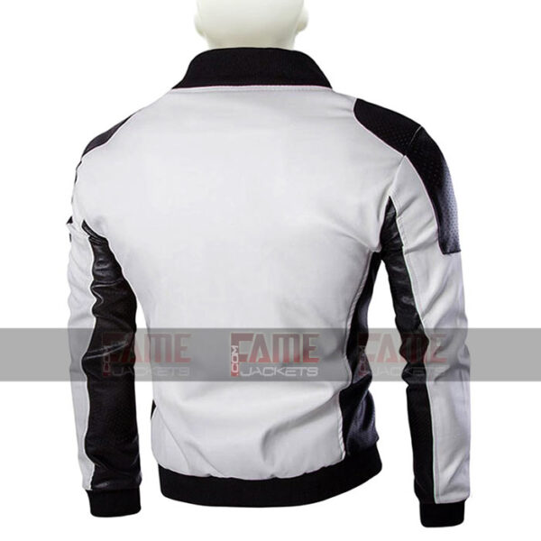 Mens Womens White And Black Leather Slim Fit Jacket