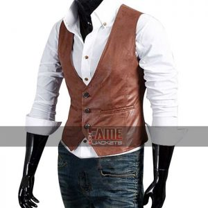Mens Light Brown Leather Classic Vest