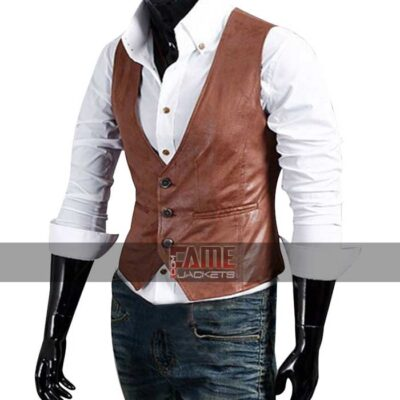 Mens Light Brown Leather Classic Vest
