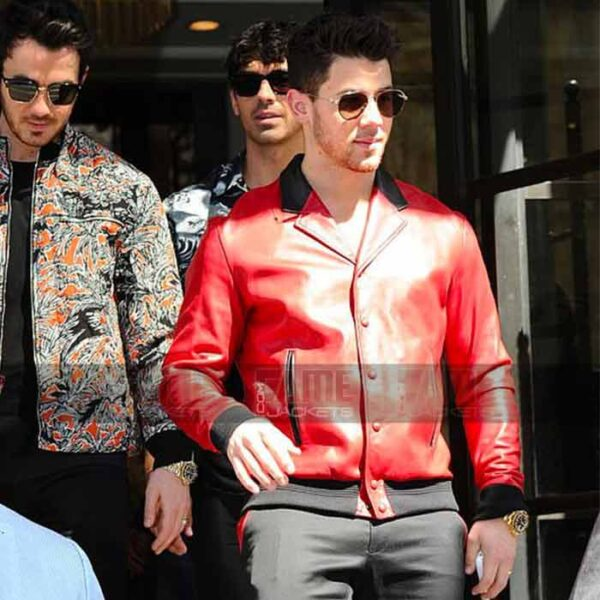 Nick Jonas Vintage Red Bomber Leather Jacket For Men