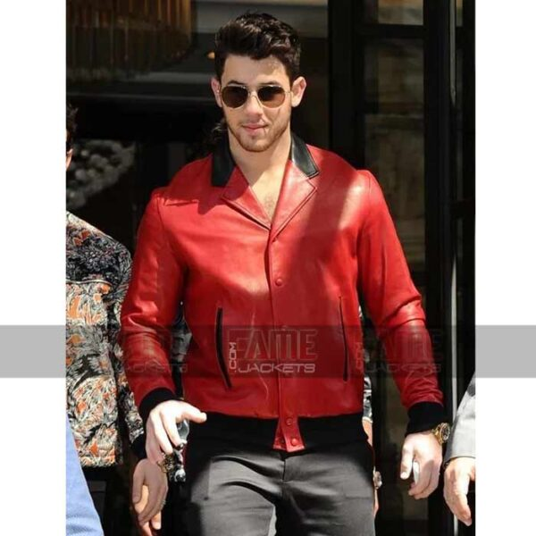 Nick Jonas Mens Vintage Red Leather Bomber Jacket