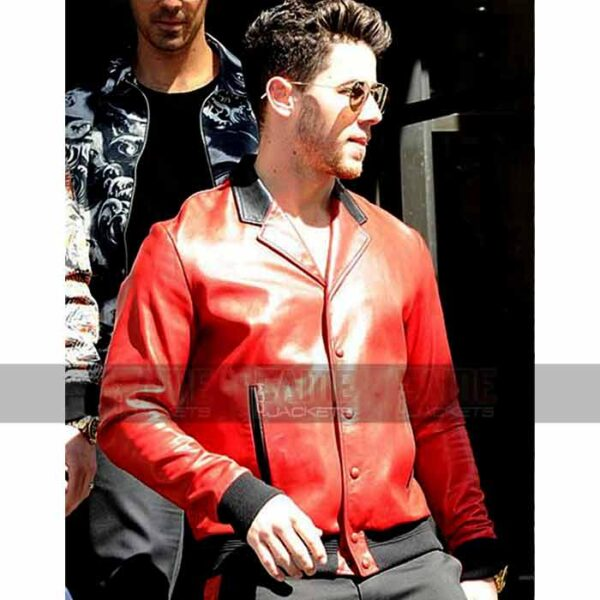 Nick Jonas Mens Red Vintage Bomber Leather Jacket