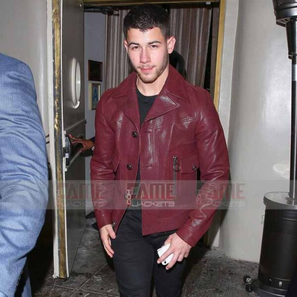 Nick Jonas Mens Vintage Red Casual Leather Jacket