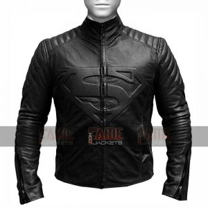 Superman Smallville Man Of Steel Shield Leather Biker Jacket
