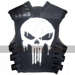 Frank Castle Mens Black Leather Vest With Skull