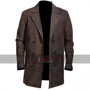 War Doctor Who John Hurt Brown Winter Leather Coat For Men