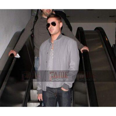 Zac Efron Mens Bomber Grey Leather Jacket