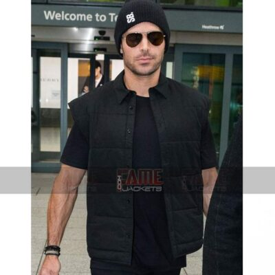 Zac Efron Mens Casual Black Cotton Vest On Sale