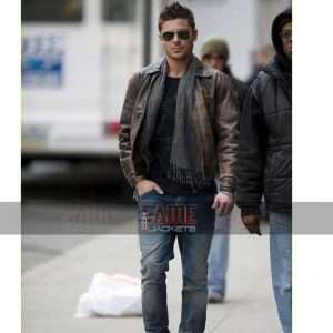 Zac Efron Cowhide Leather Distressed Brown Leather Jacket