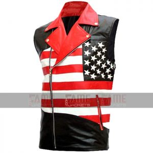 American Flag Mens Biker Leather Vest