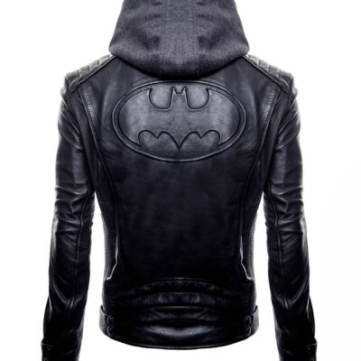 Buy Batman Logo Brando Biker Real Black Leather Hoodie at $40 off Sale