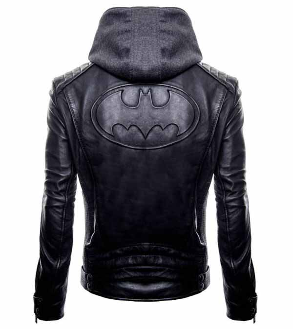 Buy Batman Logo Brando Biker Real Black Leather Hoodie at $40 off Sale