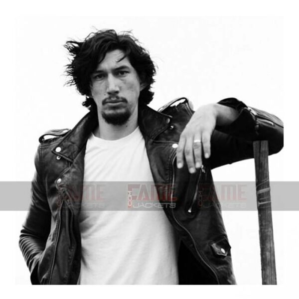 Adam Driver Black Leather Biker Jacket