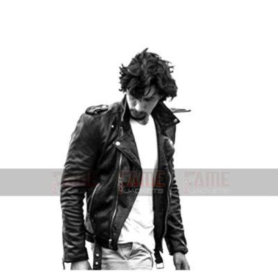 Adam Driver Black Biker Leather Jacket