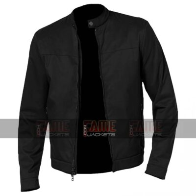 Mens Casual Round Collar Black Cafe Racer Cotton Jacket
