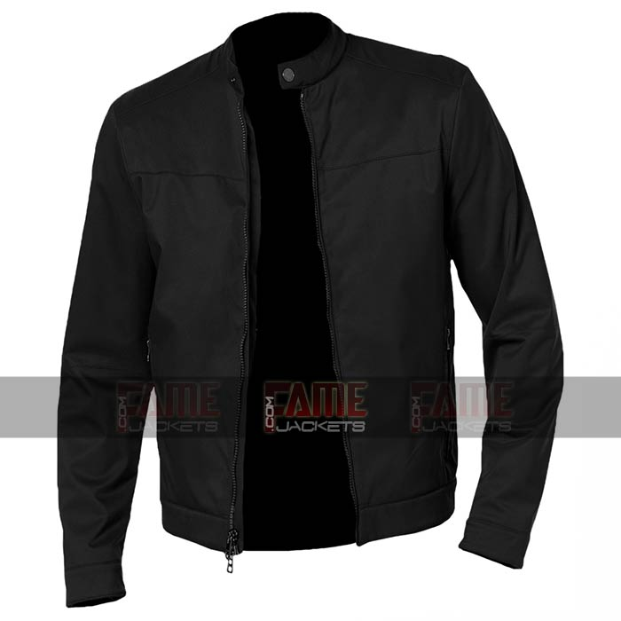 fisicamente Laboratorio segretamente  Men Cafe Racer Round Neck Casual Black Cotton Jacket - FJ