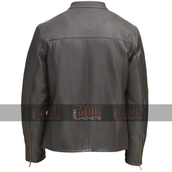 Mens Grey Casual Round Collar Biker Jacket