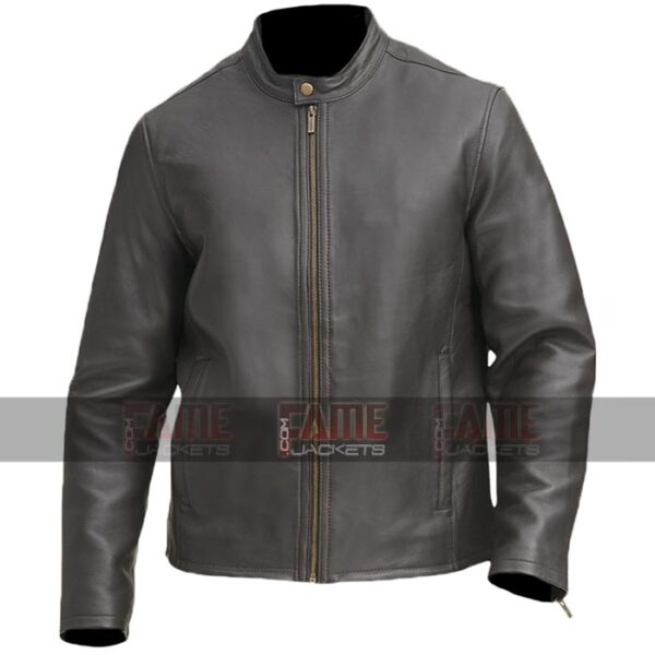 Casual Mens Round Collar Biker Leather Jacket