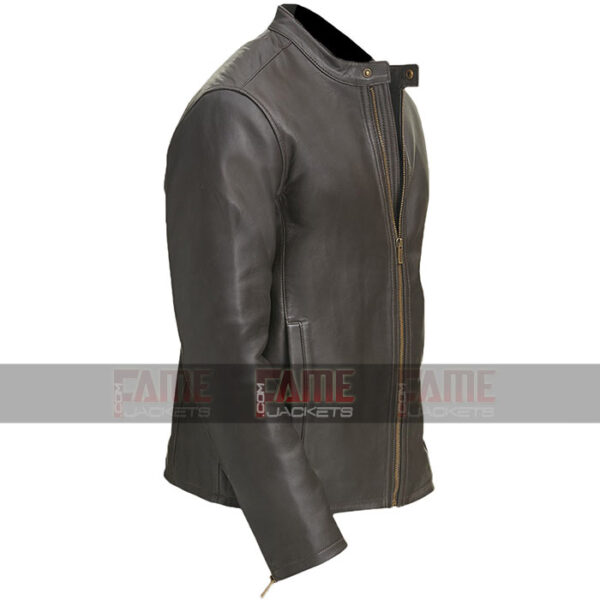 Mens Casual Round Collar Moto Biker Leather Jacket