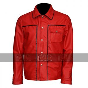 Elvis Presley Red Vintage Leather Bomber Jacket On Sale