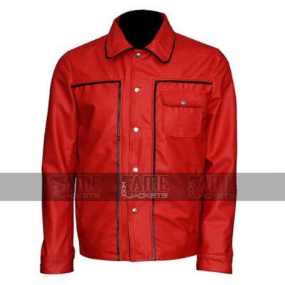 Elvis Presley Red Vintage Leather Bomber Jacket On Sale