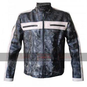 Mens Distressed Grey Biker Leather Jacket