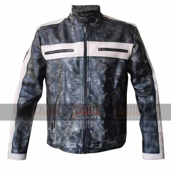 Mens Distressed Grey Biker Leather Jacket