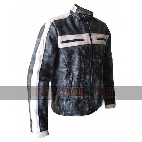 Mens Designer Distressed Grey Moto Leather Jacket