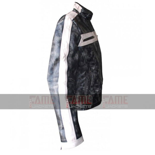 Mens Grey Designer Distressed Moto Leather Jacket
