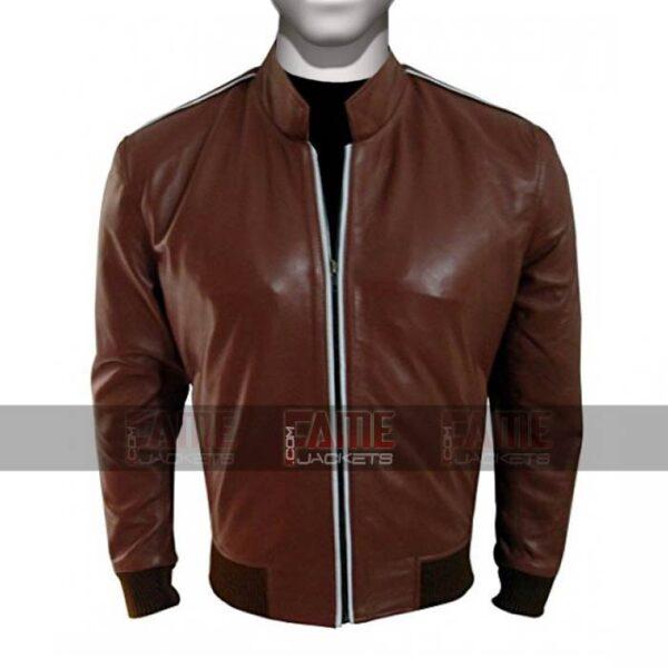 Mens Slim Fit Brown Sheepskin Leather Bomber Jacket Sale