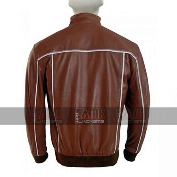 Mens Slim Fit Brown Sheepskin Leather Bomber Jacket