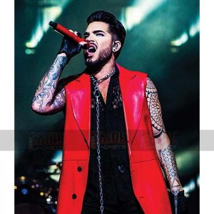 Adam Lambert Concert 2020 Red Leather Coat