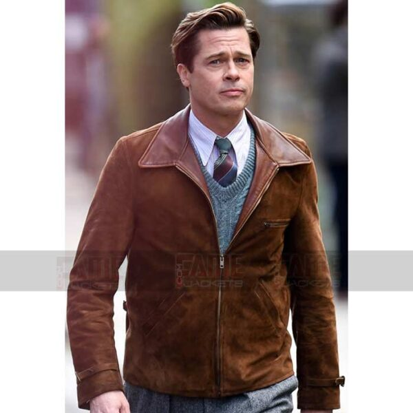 Brad Pitt Allied Genuine Suede Brown Leather Jacket On Sale