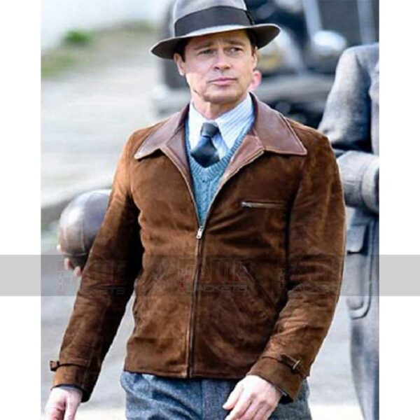 Brad Pitt Suede Brown Leather Jacket On Sale