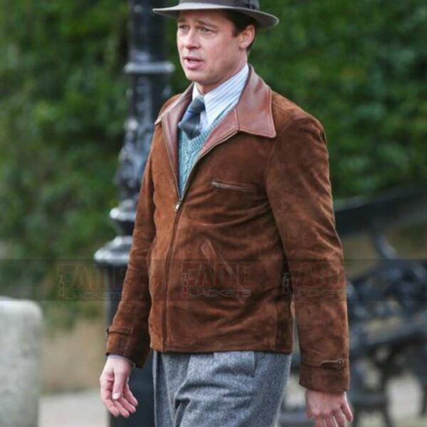 Brad Pitt Allied Genuine Brown Suede Leather Jacket