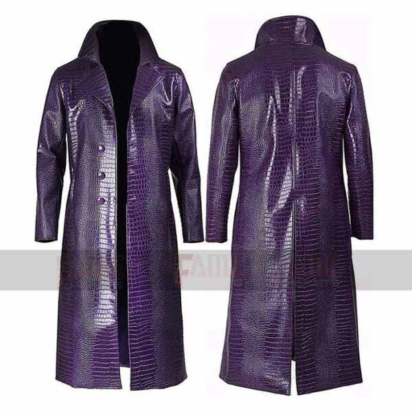 Suicide Squad Jared Leto Purple Long Leather Coat