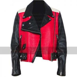 Mens Womens Red And Black Moto Leather Jacket