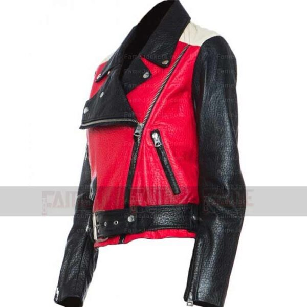 Mens Womens Red And Black Moto Faux Leather Jacket