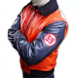 Goku 59 Blue Orange Leather Jacket