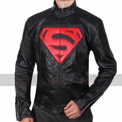 Batman vs Superman Black Leather Logo Jacket For Men